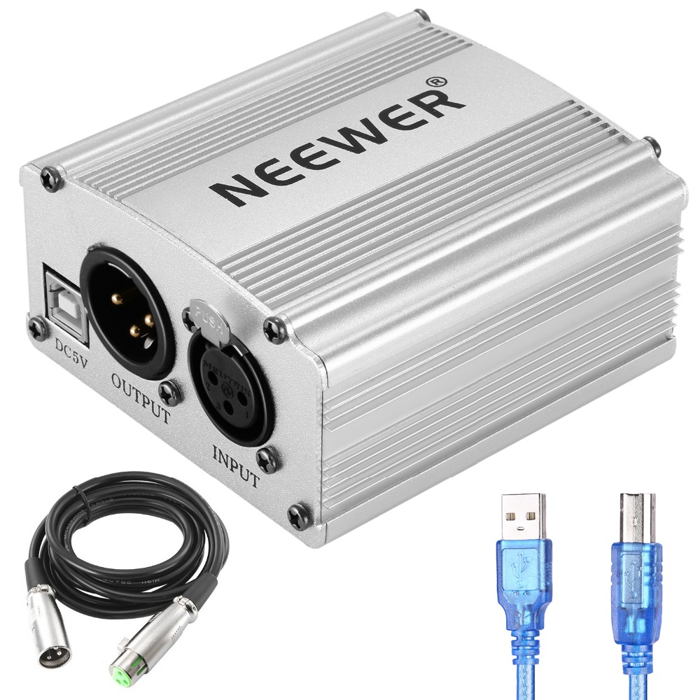 Neewer 48V Phantom Power Supply With USB Cable,BONUS+XLR 3 Pin Microphone Cable