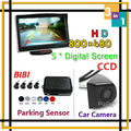 HD 5 Car LCD Monitor For CCD Car Rear View Camera Backup Reverse Parking Sensor System Visual Alarm Display 4 Radars Assist
