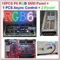 P6 из светодиодов комплекты, 18 шт. полноцветный smd 3 в 1 модуль + 1 асинхронный контроллер + 2 HQ мощность suply, Крытый из светодиодов экран комплекты