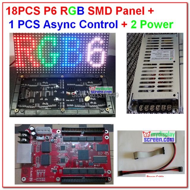 p6 led display kits, 18 pcs full color smd 3 in 1 module + 1 async controller + 2 HQ power suply,indoor led display screen kits