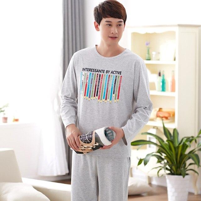 17f9b45836 Brand Male pajamas suit 100%Cotton Rainbow pencil Long-sleeve men pajama  set sleepwear