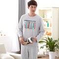 Marca para hombre traje de pijama de 100% del algodón del arco iris lápiz de manga larga hombres pijama de dormir set home ropa pijama ropa de hombre más el tamaño 4XL