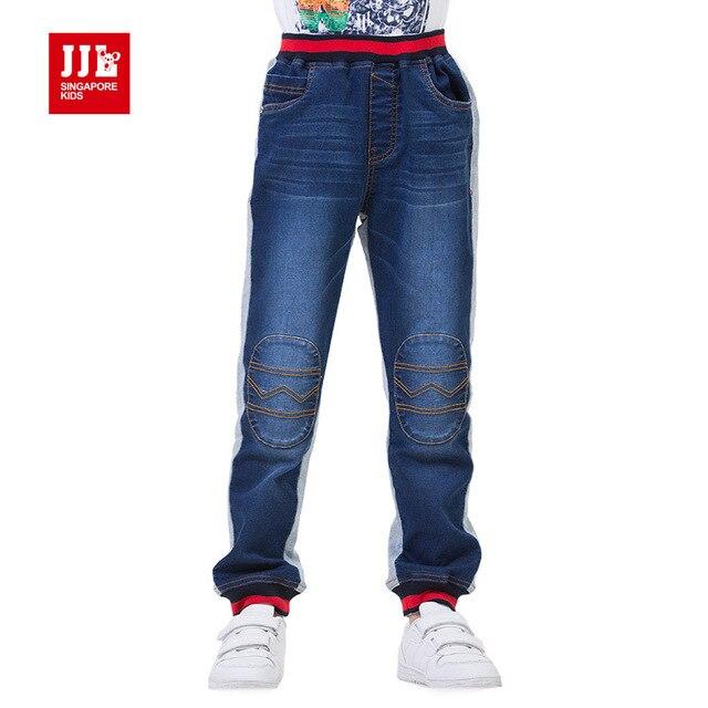 Babys мальчики джинсы лоскутное коленной чашечки мальчиков джинсы дети мода основывая