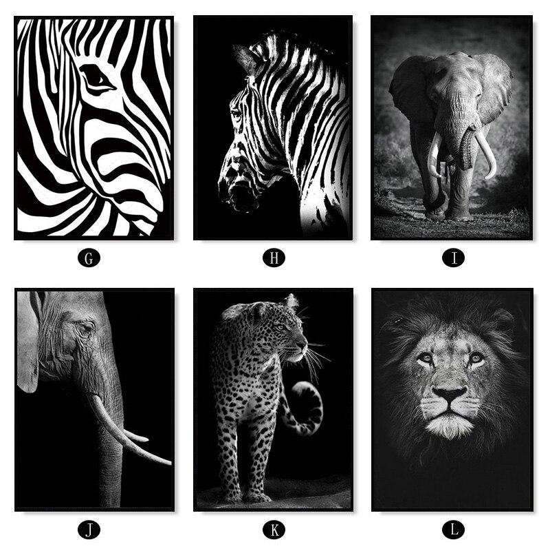 HTB1A0Ejah rK1RkHFqDq6yJAFXaL Nordic Canvas Art Painting Black White Giraffe Elephant Zebra Lion Print Animal Wall Art Poster Living Room Home Decor Painting