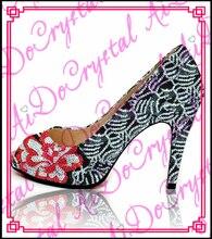 Aidocrystal Brand New Design Sexy Offene spitze High Heels Flacher Mund Frauen Schuhe Gute Qualität Schwarz Rot Kleid Pumpen