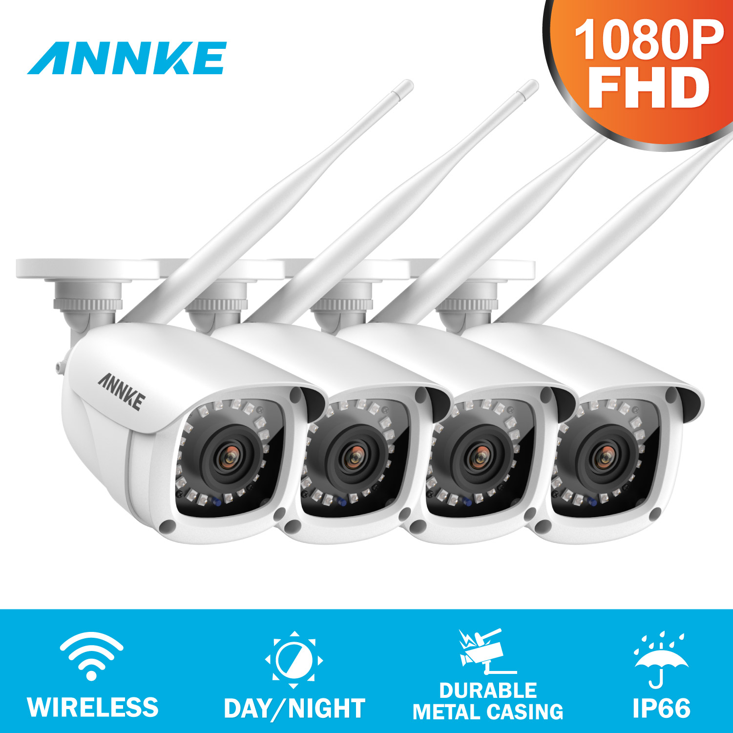ANNKE 2X 4X FHD 1080P IP WiFi Wireless Video Security Camera System Bullet Weatherproof Camera 100ft Night Vision With Smart IR
