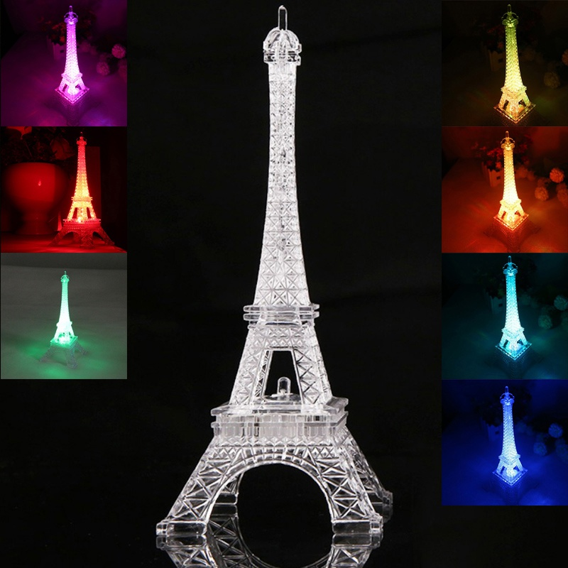 2017 Fashion Eiffel Tower Night Light Colorful Led Lamp In