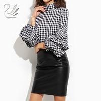 Fashion 2017 Women Tops Ruffles Sleeve Shirts Casual Turtle Neck Plaid Print Blouses Loose Cotton Blusas
