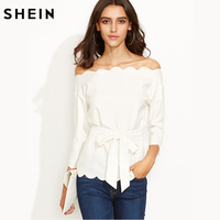 SHEIN White Belted Scallop Trim Blouse 2017 Autumn Fashion Elegant Smart Casual Tunic Women Long Sleeve