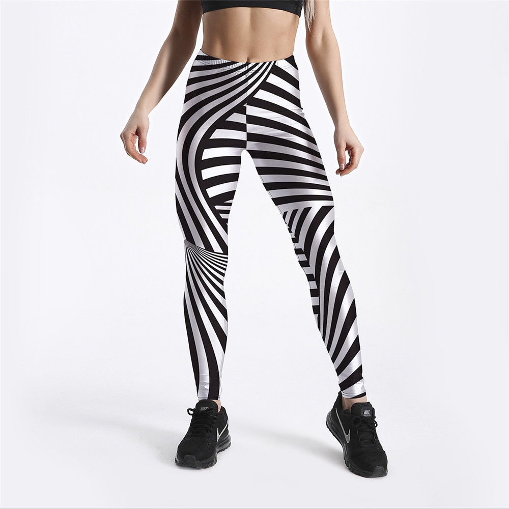 FCCCEXIO New Style Women Workout Leggings Zebra Black&White Stripes Printed Fitness Legging Mid Waist Ankle Length Drop Shipping