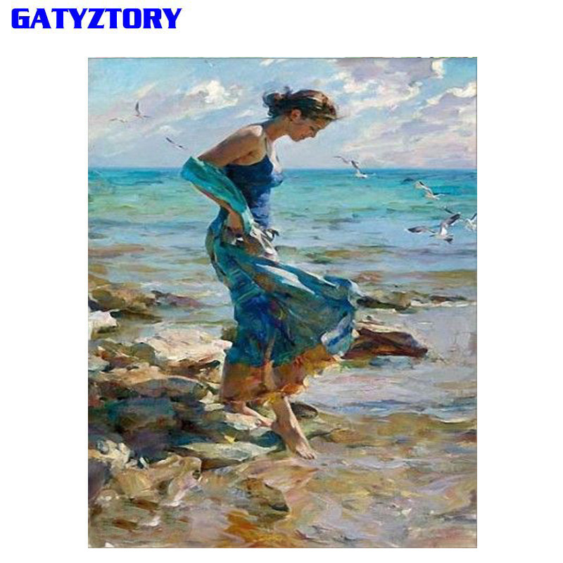 Gatyztory frameless DIY pintura por número belleza mujeres pintura moderna de la lona de la pared pintura de acrílico por número para la decoración casera