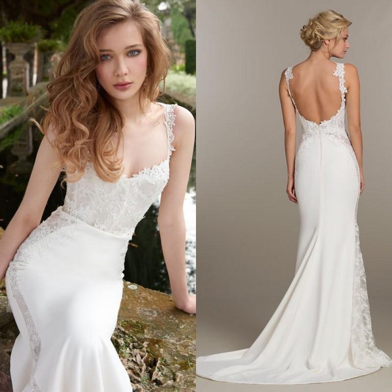 Romantic slim white long wedding dresses 2017 backless for Slim white wedding dresses