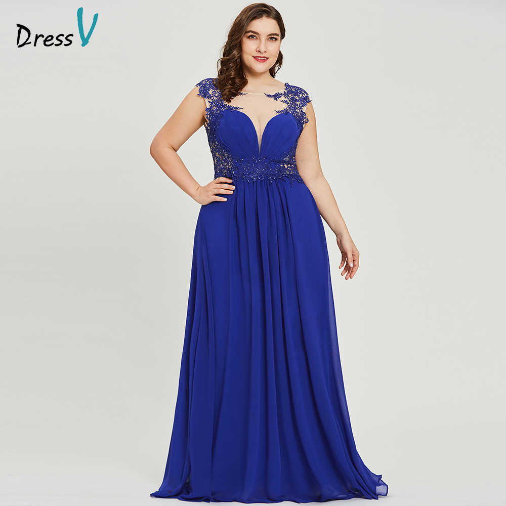 bb344039c9 Dressv oscuro azul royal plus tamaño vestido de noche elegante cuello  redondo mangas boda fiesta formal