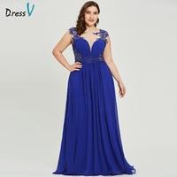 f682f7bca7aa59 Dressv Dark Royal Blue Plus Size Evening Dress Elegant Scoop Neck Cap  Sleeves Wedding Party Formal