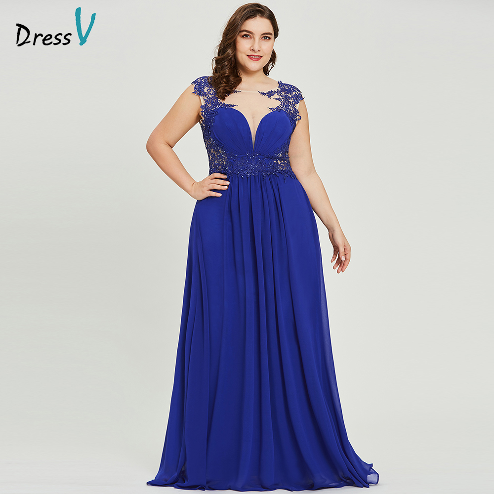 Dressv Dark Royal Blue Plus Size Evening Dress Elegant Scoop Neck Cap Sleeves Wedding Party Formal Dress A Line Evening Dresses