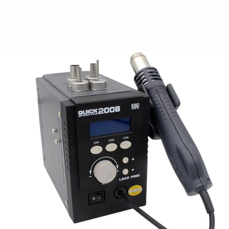 QUICK 2008 ESD наладочная станция для телефона BGA, Ремонтный пистолет для распайки горячего воздуха, сварочный стенд, бессвинцовый регулируемый д...