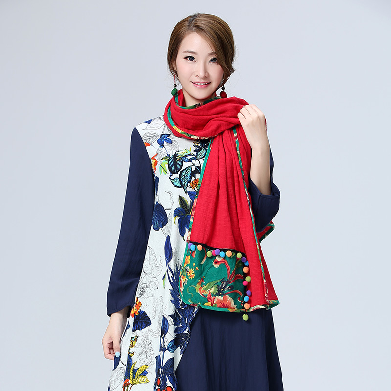 De Dove 2016 Women's winter retro national wind accessories cotton large square patch long scarf shawl femme wool ball scarves