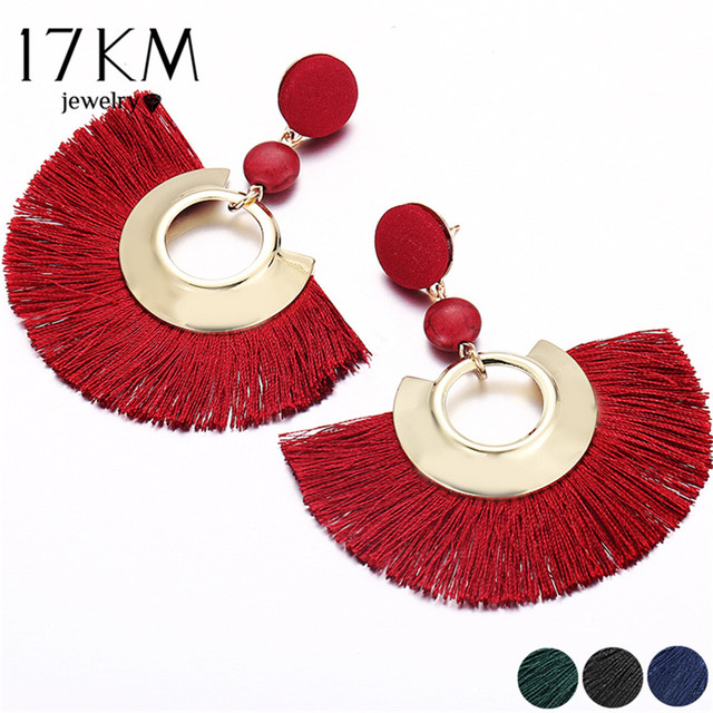 17KM Bohemian Big Tassel Earrings For Women Female Chandelier Earring Handmade B