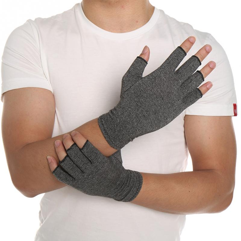 Hot 1 Pair Women Men Cotton Elastic Hand Arthritis Joint Pain Relief Gloves Therapy Open Fingers Compression Gloves(China)