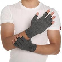 Guantes elásticos de algodón para hombre y mujer, 1 par, para alivio del dolor de articulación y artritis, terapia con dedos abiertos, guantes de compresión