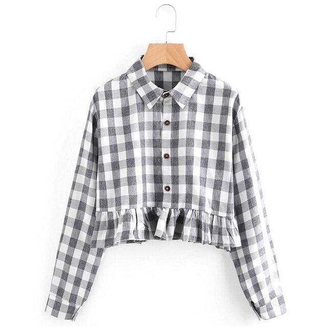 c9363f9e9 Womdee women ruffles plaid checked pleated shirts lapel long sleeve short  blouse blusas ladies fashion casual