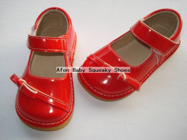 Aliexpress.com : Buy D165 Bright Red Baby Squeaky Shoes Shining ...