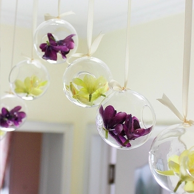 Oselif Brand Tiny Hot Clear Glass Globes With 1 Hole Flower