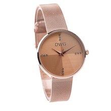 DWG caliente Señoras Del Reloj de Oro Rosa reloj de Cuarzo Reloj de Pulsera Relojes para Mujer Metal Pulsera Rhinestone Dial Señoras Reloj de Pulsera Con un caja