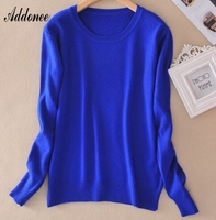Addonee Sweater Female Women S Knitted Cashmere Sweater Slim O Neck Sweater Short Design Plus Size