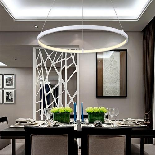 Círculo criativo projeto do anel Droplight moderno pingente conduziu a lâmpada luminárias para sala de jantar sala de luz pendurado iluminação doméstica