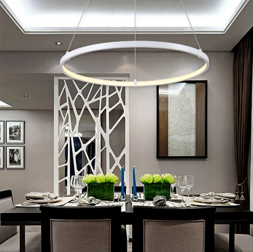 Creative circle ring design droplight modern led pendant for Hanging light fixtures for dining room