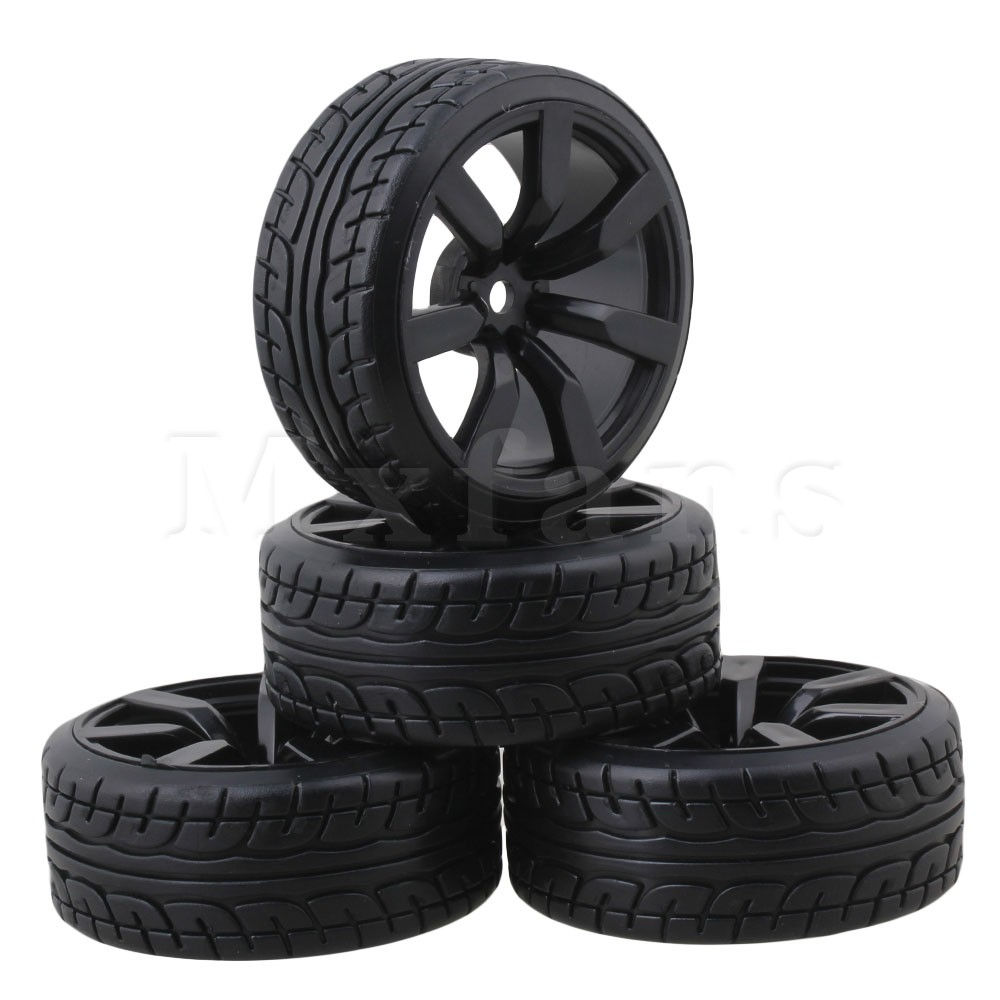 Mxfans Model Car Rubber Tires with 7-spoke Wheel Rims For RC1:10 On-road Racing Car Pack ...