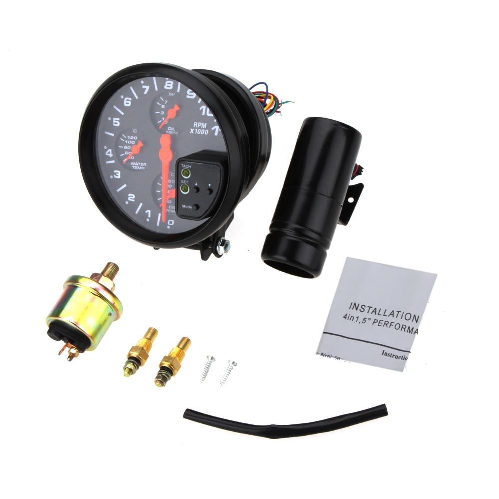 Universal Auto Motorcycle Multifunctional 5'' 4 in 1 Tachometer RPM Gauge  Oil Temp Pressure Autometer Car Meter Gauge on Aliexpress.com | Alibaba  Group