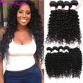 Brazilian Deep Wave With Closure 3or4 Human Hair Bundles 7A Brazilian Virgin Hair With Closure Brazilian Curly Hair With Closure
