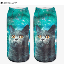 ZHBSLWT 3D Sock Print Lovely Cat Time limited Ruched Polyester Contrast Color Meias Women Socks Casual
