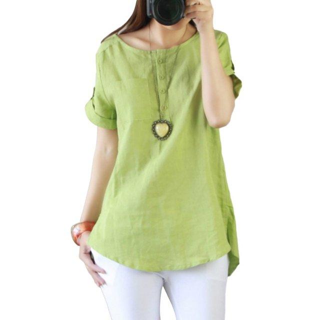 New Summer Casual Women Shirts Woman Clothes Short Sleeve Loose  Cotton Linen Women Tops Female Blouse