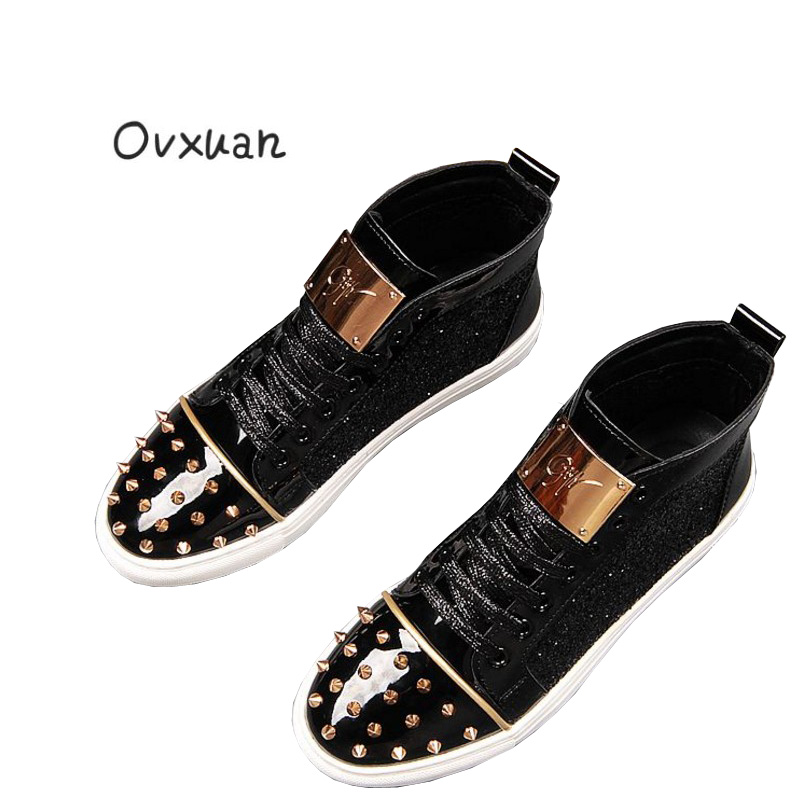 Ovxuan Fashion Men Party Handmade Loafers Men Ankle Shoes with Metal Sheet and Gold Buckle Men Dress Shoes Rivets Toe Mens Flats ovxuan metal skull buckle handmade men ankle shoes punk party dress loafers glitter bright sequins men flats casual rivets shoes
