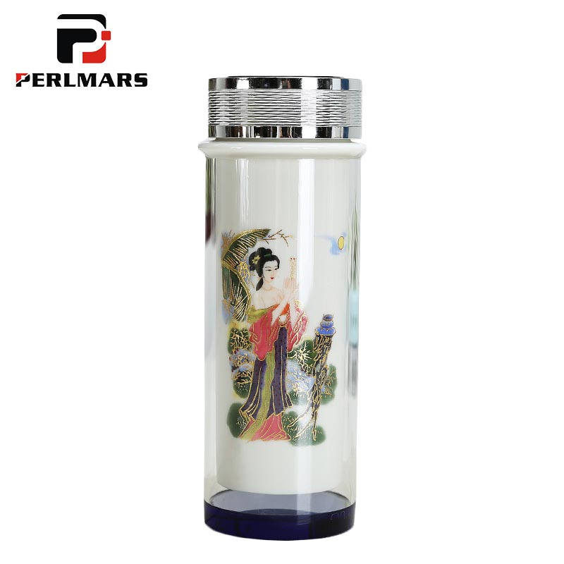 Chinese Style Double Ceramic Heat resistant Glass Water Bottle Office Drinkware Sent Friends Tea Cup with Lid Kit Straight Cups