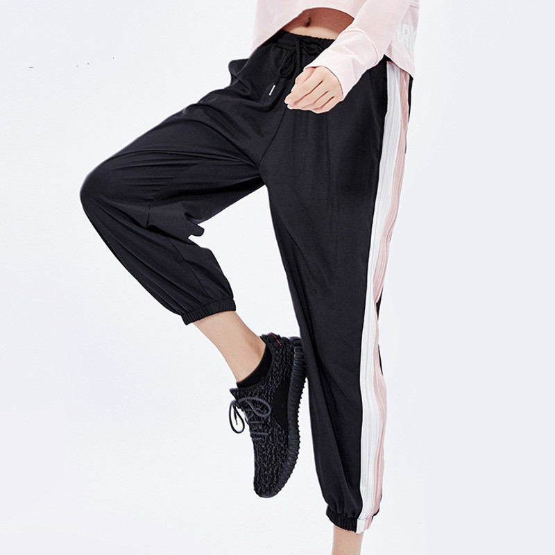 New 2019 Trainning Fitness Sports Leisure Pants Running Loose Patchwork Line Yoga Pants Leggings Sportswear Quick Dry Trousers(China)