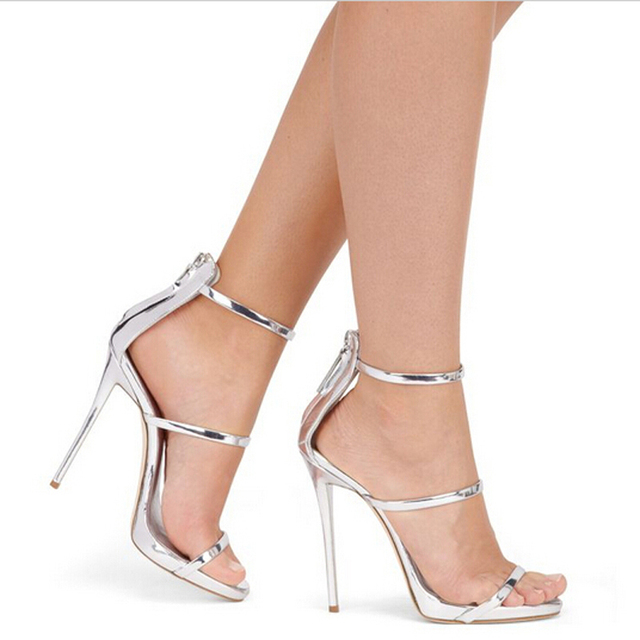 8a67130ec heels woman shoes Metallic Strappy Sandals Silver Gold Platform Gladiator  Sandals Women High Heels Shoes Summer shoes size 4-12