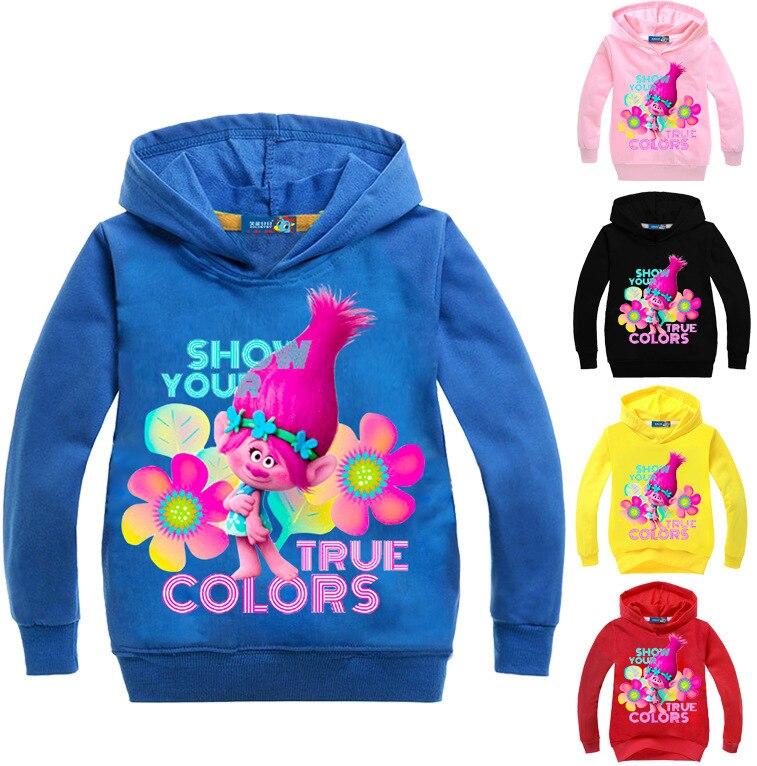2017 Spring Autumn Trolls Poppy Kids Girls Hoodies and Sweatshirts Long Sleeves Outwear Cartoon Top Hooded Coat Fashion N07625