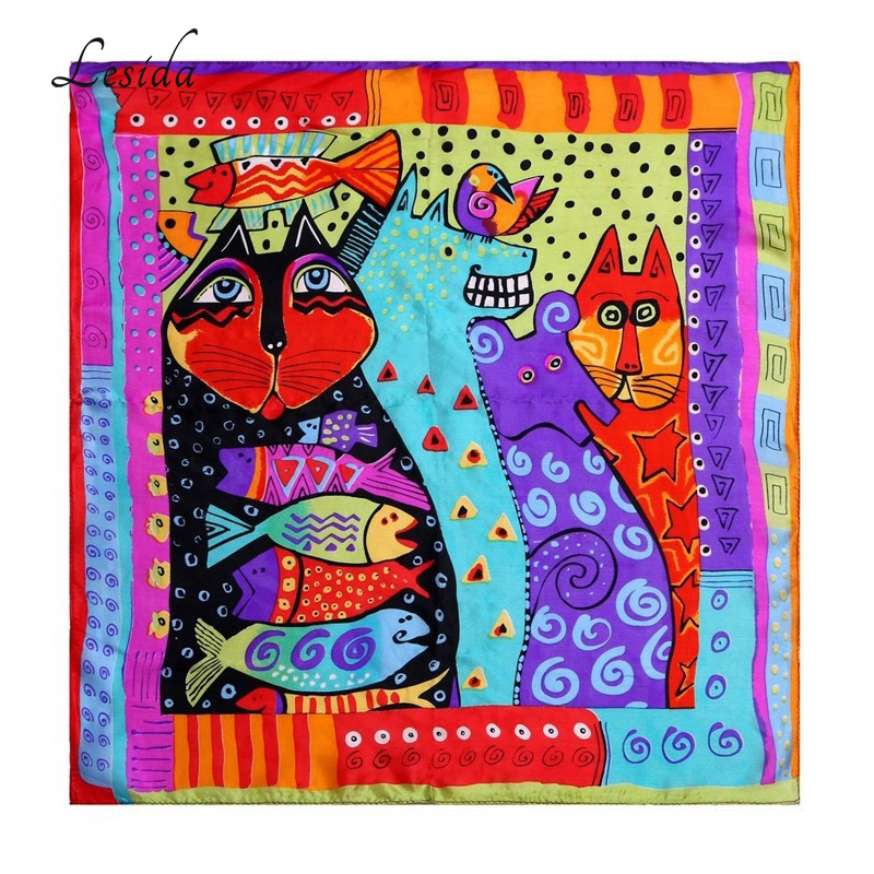 LESIDA Pure Silk Women Scarf Rainbow Cats Printing Echarpes Foulards Femme 2017 Square Bandana Neck Scarves Hijab 53*53CM ZS5045