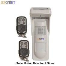 GZGMET 95 dB Photo voltaic Energy Flash Siren Waterproof IP65  Alarm KIT Infrared PIR Detector Dwelling Safety Alarm System
