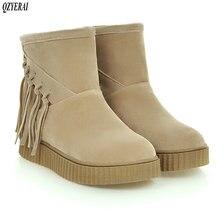 hot deal buy qzyerai new arrival winter warm snow boots women boots flat tasseled snow boots warm women shoes size 34-43