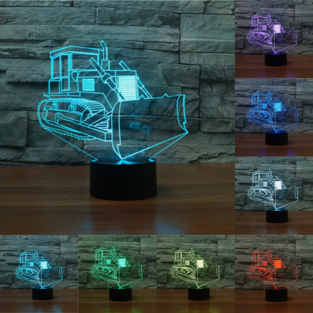 Creative Touch Switch Desk Light Novelty Night Light Colorful USB LED Table Lamp 3D Illusion Bulldozer For Home Decor IY803986