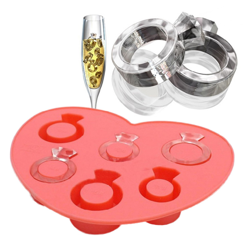 Ice Mold Tray Diamond Love Ring Tray Style Freeze Ice Mold Ice Cream Maker Mould for Summer