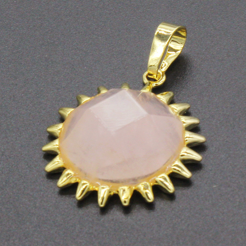 Trendy-beads Lgith Yellow Gold Color Sun Flower Shape Natural Rose Pink Quartz Pendant For Women Jewelry