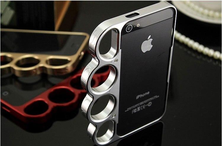 imágenes para Lujo 100% de aluminio de aleación para el iphone 4 4s parachoques moda señor anillos Knuckles Finger Frame Caja Del Teléfono de Caso de Metal Cubierta de 9 Colores