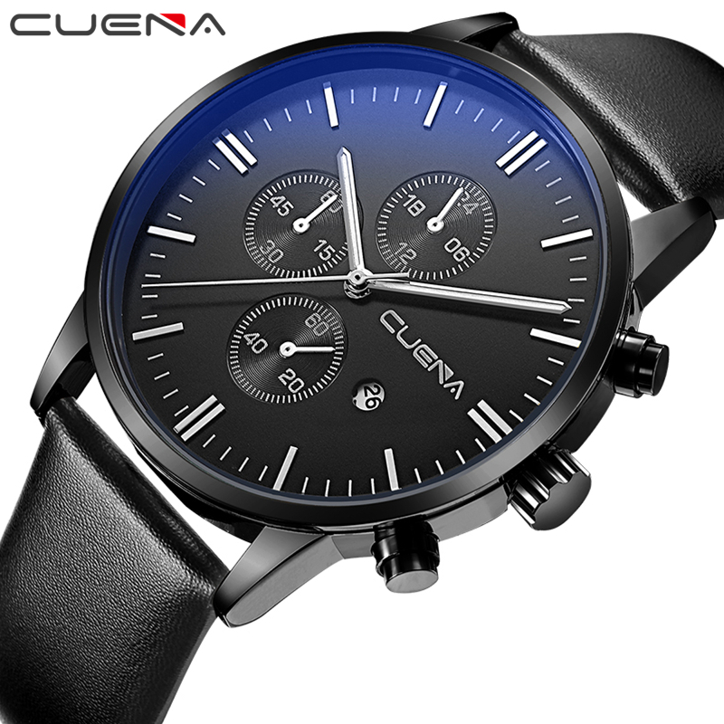 CUENA Fashion Casual Men Quartz Watches Genuine Leather Male Wristwatches Clock Relojes Waterproof Relogio Masculino Black 6619 hot sale retro wood quartz wristwatches women casual cowhide genuine leather band watch relogio masculino clock female relojes