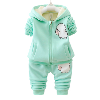 цена на Autumn Winter Children Boys Girls Fashion Clothing Sets Baby Cartoon Hooded Jacket Pants 2Pcs/sets Infant Add Cotton Tracksuits